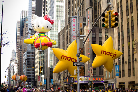 NEW YORK CITY - NOVEMBER 27 2014: the 88th annual Macys Thanksgiving Day parade stretched from Manhattans Upper West Side to Herald Square, viewed by 350,000 spectators.