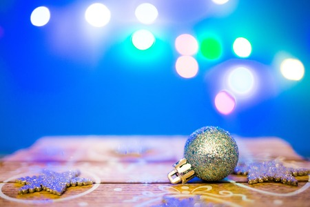 Christmas decoration balls with blurred color lights 写真素材