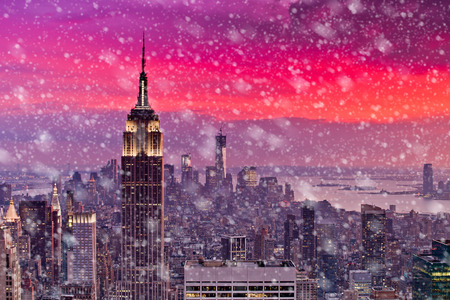 Snowing in New York 写真素材