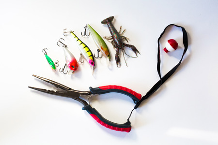 Fishing wobblers and lure on a white background close up Imagens