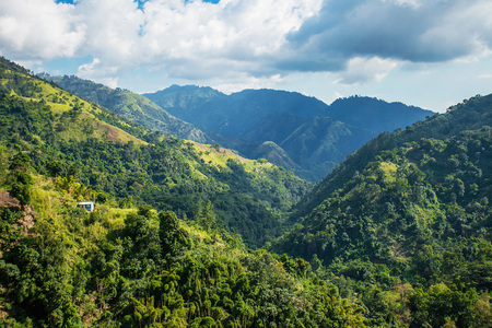 Blue mountains of Jamaica where coffee is grown at day