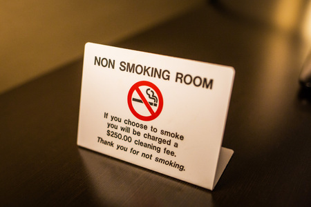No smoking room sign warning with fee info Stock Photo