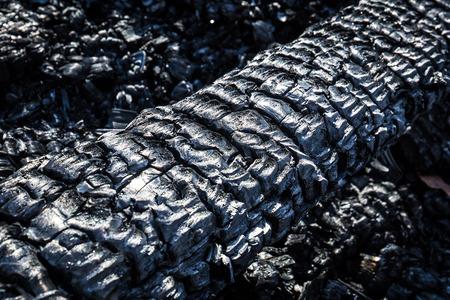Burned wood ash texture close up macro Stock Photo