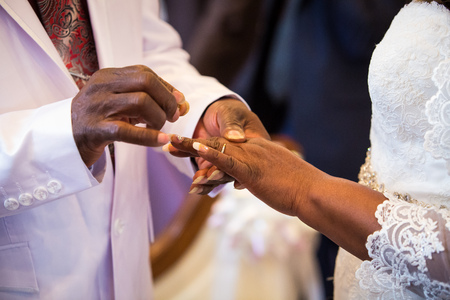 Rings exchange for black couple marriage ceremony