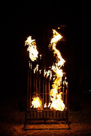 Pyrophone fire organ at night playing music