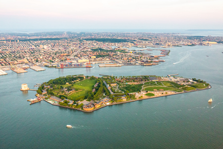 Governors island of New York aerial view at day Stock Photo