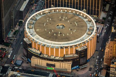 New York, NY  USA - August 07 2018: Madison Square Garden aerial view