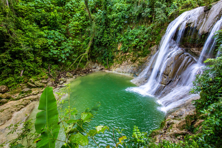 Beautiful Gozalandia Waterfall in San Sebastian Puerto Rico at daylight Stock Photo