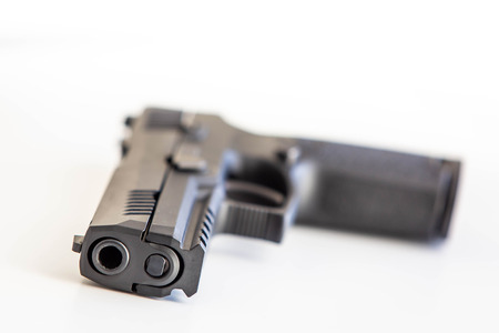 Modern handgun white background isolated close up Banque d'images