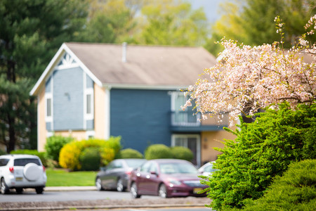 Beautiful blurred village homes in spring time at day