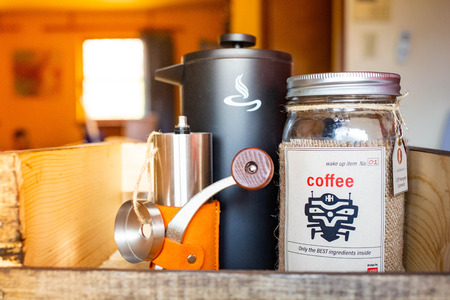 Morning wake up coffee set with kettle and grinder in tray Stock Photo - 121434750