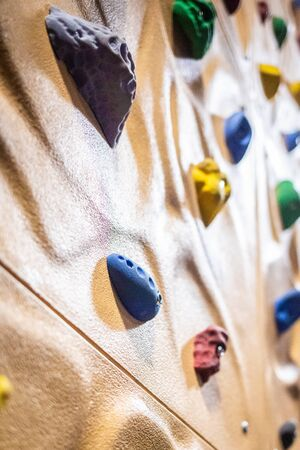 Chalenging climbing wall activity indoor nobody close up isolated