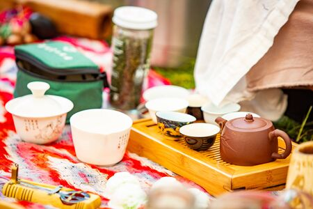 Tea ceremony outdoor setup nobody isolated at summer day