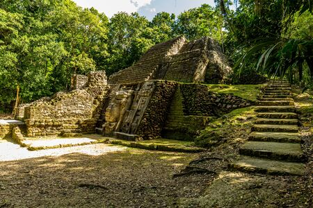 Lamanai archaeological reserve mayan Mast Temple in Belize jungle
