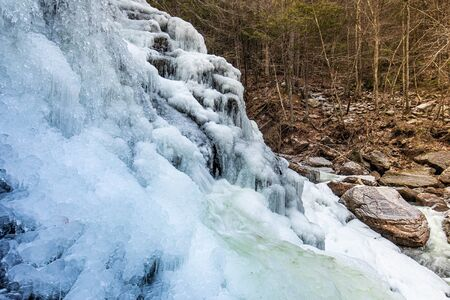 Scenic view of frozen Bastion falls at upstate New York area