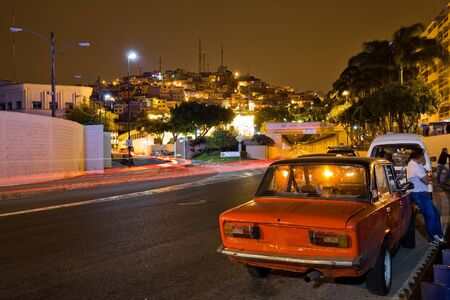 Famous Guayaquil old town overview at night on the hill district