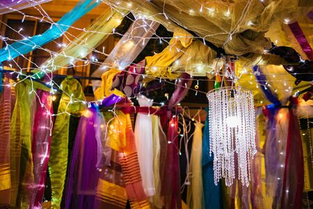 Decorated tent maequee with lights and fabric for party night Archivio Fotografico
