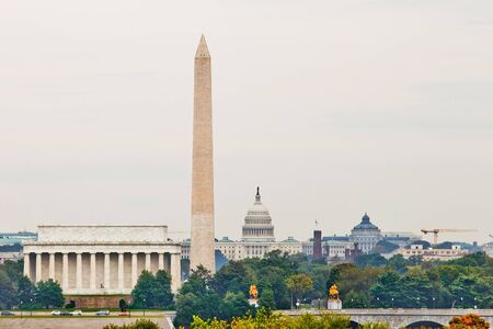 Washington DC city view of most famous landmarks in summer