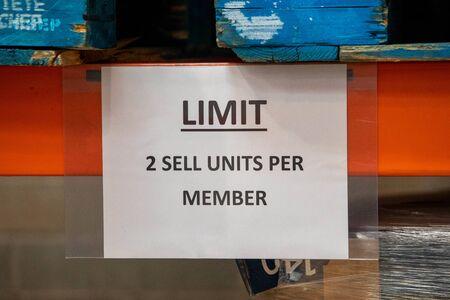 Warning sign as people empty supplies in panic of coronavirus disease