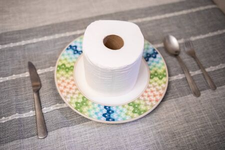 Consept of toilet paper panic results of coronavirus meal
