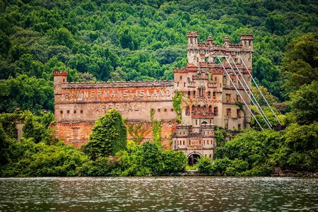 Bannerman Castle Arsenal Armory on Pollepel Island Hudson River, New York at day