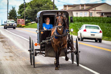 Lancaster, PA / USA - 7/4/2013: Amish woman riding a retro carriage on the street at day