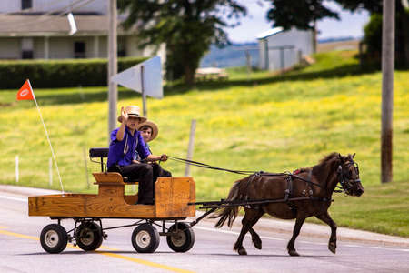 Lancaster, PA / USA - 7/4/2013: Amish kids riding a retro carriage on the street at day