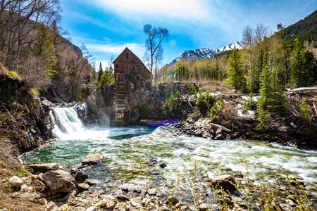 Waterfall at Old Crystal Mill White river national forest Colorado summer Stok Fotoğraf