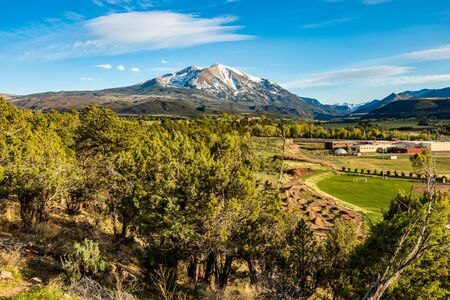 Beautiful view of mountain Sopris Aspen Glen Colorado at spring