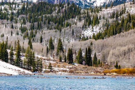 Maroon Bells lake in Spring scenic destination in Colorado travel