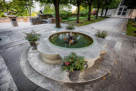 Pocantico Hills, NY / USA: 8-30-2014: Kykuit Rockefeller Estate fountain at Hudson Valley New York