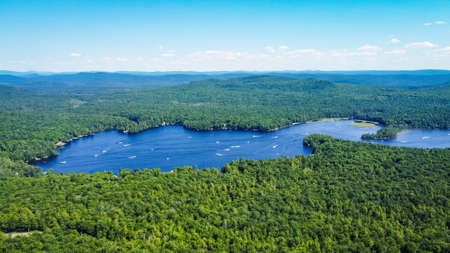 Scenic aerial view of a blue lake with pine trees coast Reklamní fotografie