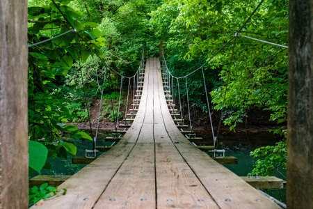 Scenic empty hanging bridge in the middle of the forest nobody around empty path Banco de Imagens