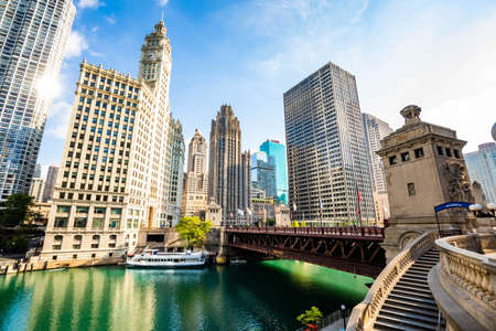 Beautiful View of Chicago river buildings modern architecture in summer