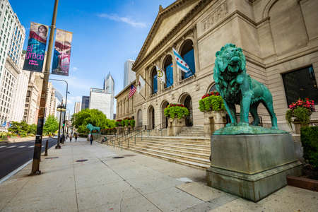 Art Institute of Chicago Exterior view with lions in summer