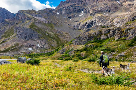 Hiking with a couple of husky dogs in Alaska Glen Alps