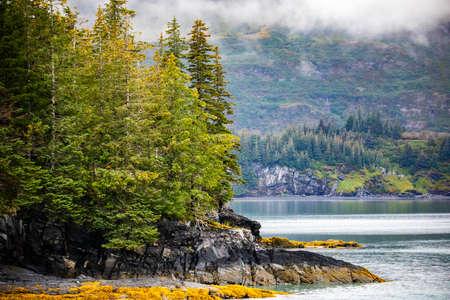 Scenic views of Gulf of Alaska coastline in fall from Whittier cruise