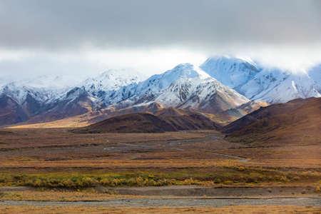 Scenic Tundra panorama view at Denali National Park Alaska in fall