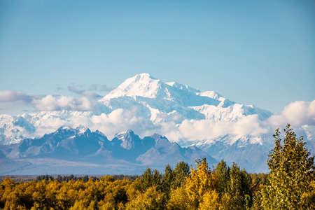 Closeup scenic view of Denali mountain peak at summer in Alaska sunny day