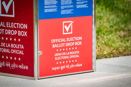 USA official election ballot drop box outside for voting