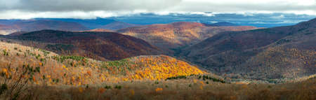 Large panoramic view of Catskills mountains at fall from above