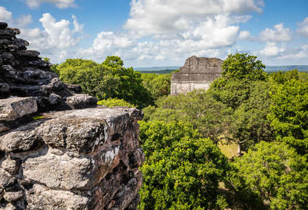 View from top of pyramids at Dzibanche ancient Maya archaeological site, Quintana Roo, Yucatan Peninsula, Mexico.