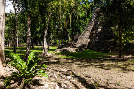 Ancient pyramids from the side at Dzibanche Maya archaeological site, Quintana Roo, Yucatan Peninsula, Mexico. Banco de Imagens - 161672268