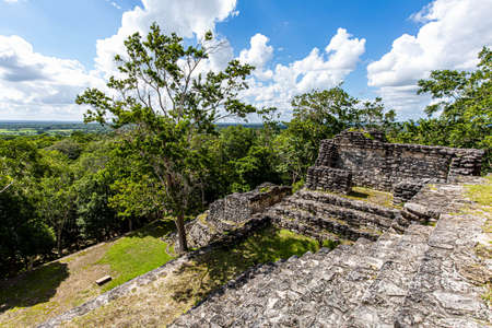 Ancient pyramids from the top view at Dzibanche Maya archaeological site, Quintana Roo, Yucatan Peninsula, Mexico.