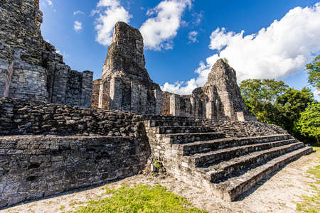Ancient Mayan temple stairs close up view with three pyramids in Xpujil, Mexico Banco de Imagens