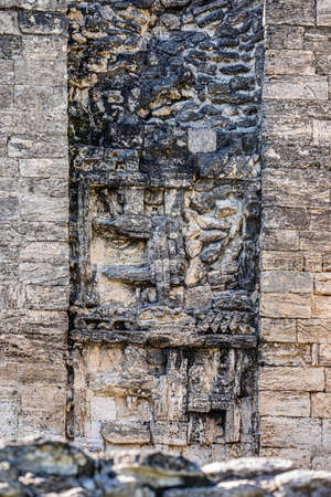 Ancient Mayan temple sculptures view in Xpujil, Mexico Banco de Imagens - 161672275