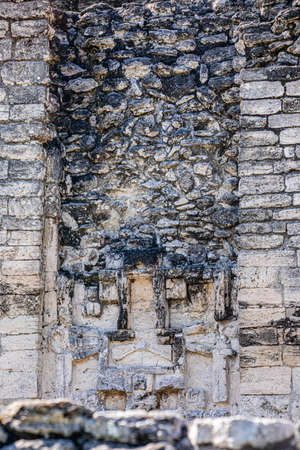 Ancient Mayan temple sculptures view in Xpujil, Mexico Banco de Imagens