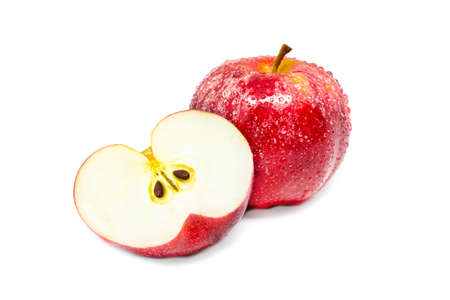 Vivid and fresh single and cut in half red apple on isolated background