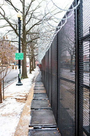 Security fence surrounding capitol Hill territory after Capitol Hill riots