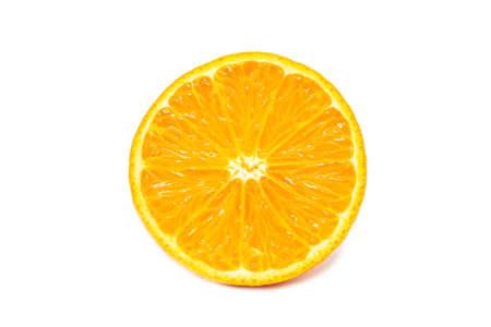 Sliced mandarine in half circle close up isolated